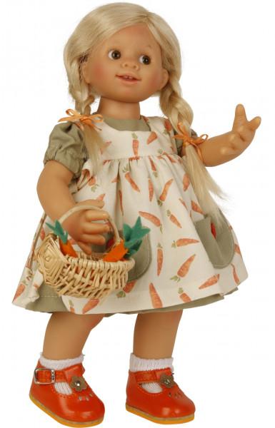 Puppe Müller-Wichtel Frieda 30 cm blonde Haare, Möhrenkleid