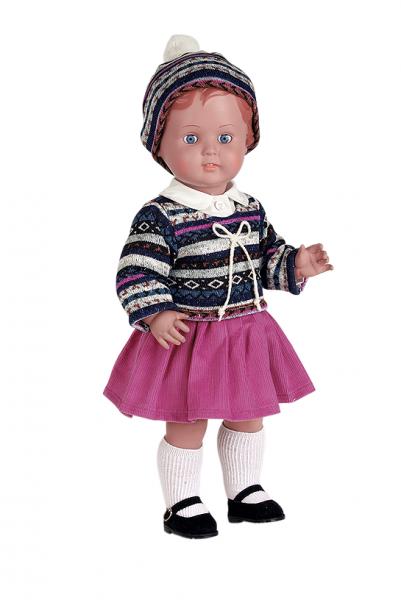Puppe Erika 49 cm braune Malhaare, Kleidung winterlich